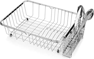 Adjustable Dish Drying Rack, 304 Stainless Steel Dish Drainer, On Counter or In Sink Dish Rack, Deep and Large, Rustproof
