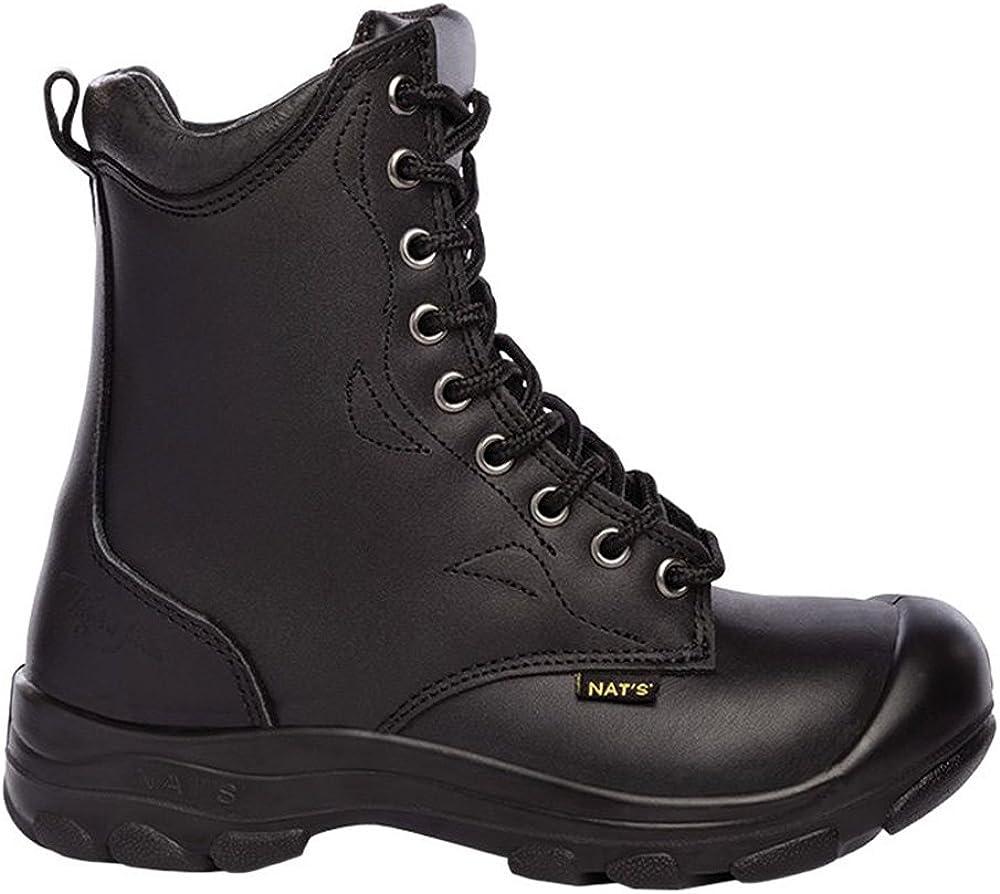 P&F Workwear Women's Steel Toe Work Boots  Black   8