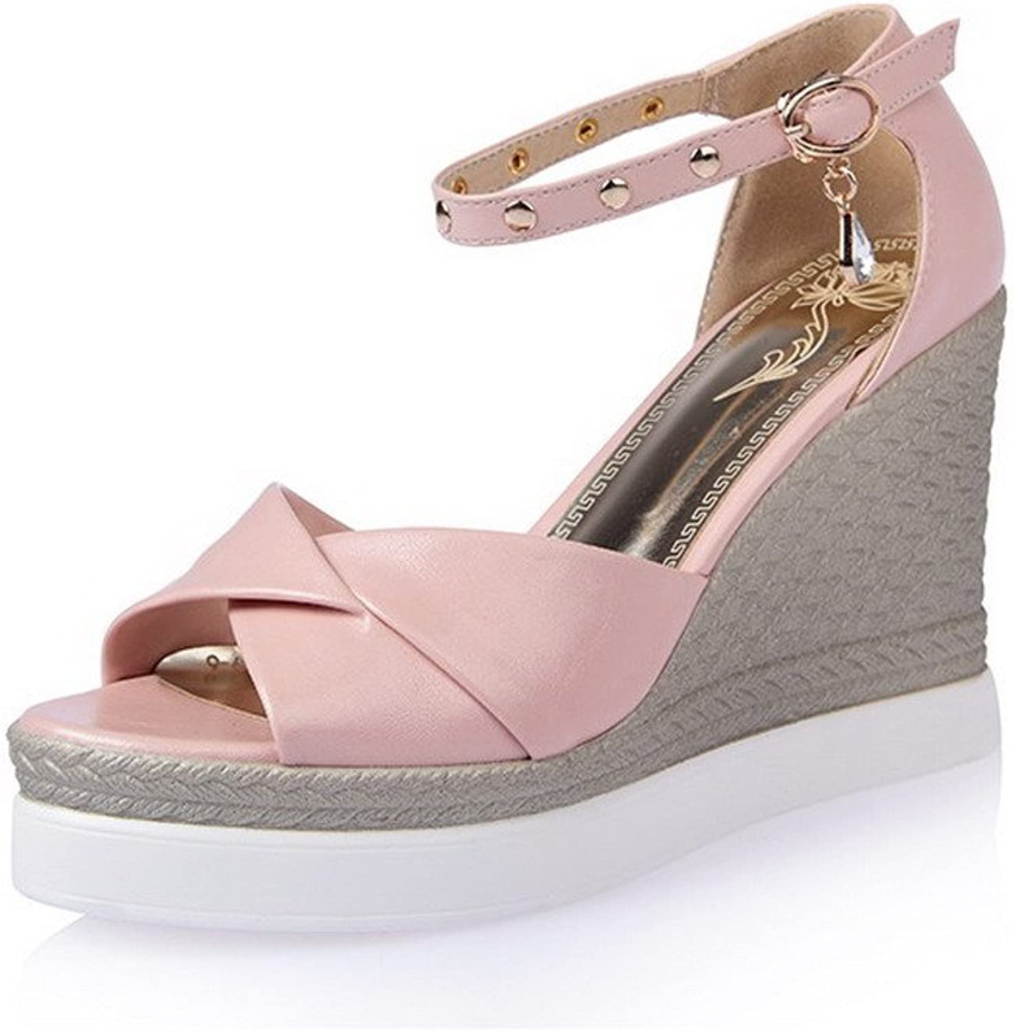 AmoonyFashion Women's Soft Leather Buckle Open Toe High-Heels Solid Sandals
