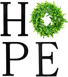 VIEFIN 12in Wooden Hope Letters for Wall Decor,Wall Hope Letters Decor with Wreath,Hope Signs for Home Decor,Farmhouse Hope Wall Decor Wood Letters for Living Room,Bedroom, Kitchen,Enterway,Hope