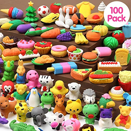 UMIKU 100 Pack Pencil Erasers Animal Erasers for Kids Puzzle Erasers 3D Mini Erasers Food Vegetable Sport Fruit Take Apart Eraser Classroom Rewards Game Prizes Treasure Box Party Favors for Kid Gifts
