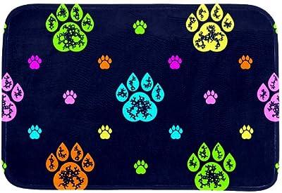 EGGDIOQ Doormats Colourful Dog Paw Prints Custom Print Bathroom Mat Waterproof Fabric Kitchen Entrance Rug, 23.6 x 15.7in