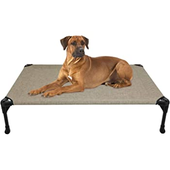 Veehoo Elevated Dog Bed, Portable Raised Pet Cot, Sturdy & Breathable Mat, Durable Textilene Mesh Fabric, No-Slip Feet, Indoor or Outdoor Use
