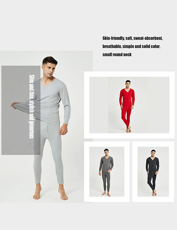 Jueshanzj Men's Underwear Solid Color Constant Temperature Long Johns Sets