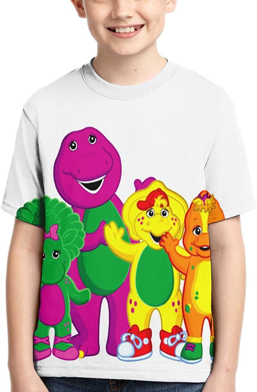 Barney & Friends T Shirt,3D Print Funny Polo Shirts Short Sleeve Tops,for Youth Tee Boys Girls