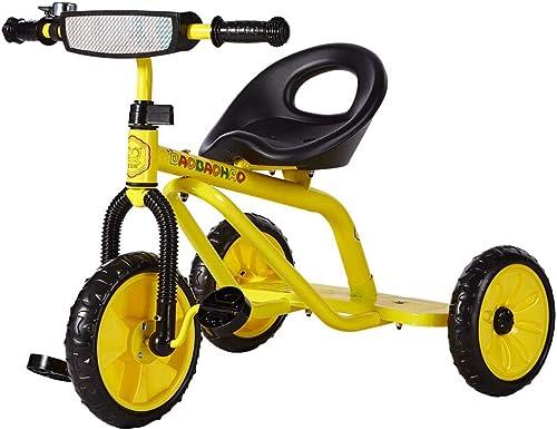 Zhijie-chezi Kinder Tricycle Kinder Pedal fürrad 2-6 Jahre alt High Carbon Stahl-Kinderwagen-Jungen-mädchen-Spielzeug-Auto mit Bell Gelb 68,8  51,6  57.8cm
