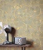 NEWROOM Tapete Beige Vliestapete Glänzend - Mustertapete Ethno Schwarz Ocker Kreise Spirale Metallic Glamour Baumscheibe inkl. Tapezier-Ratgeber