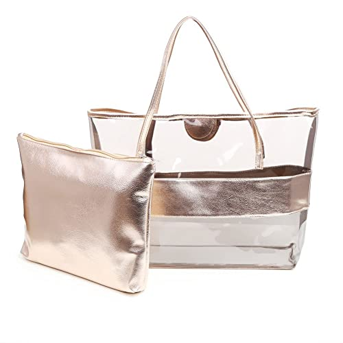 439fe0447339 Zicac Waterproof Semi-clear Tote Bags Stripe PVC Shoulder Bag with Pouch
