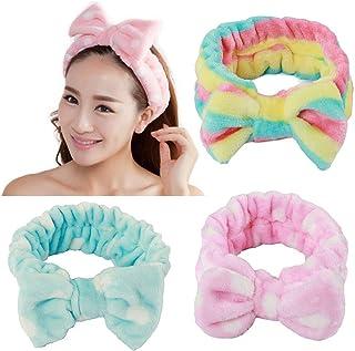 3 stuks strik hoofdband voor meisjes vrouwen mooie zachte carol elastische hoofdband haar wrap make-up bands douche hoofdb...