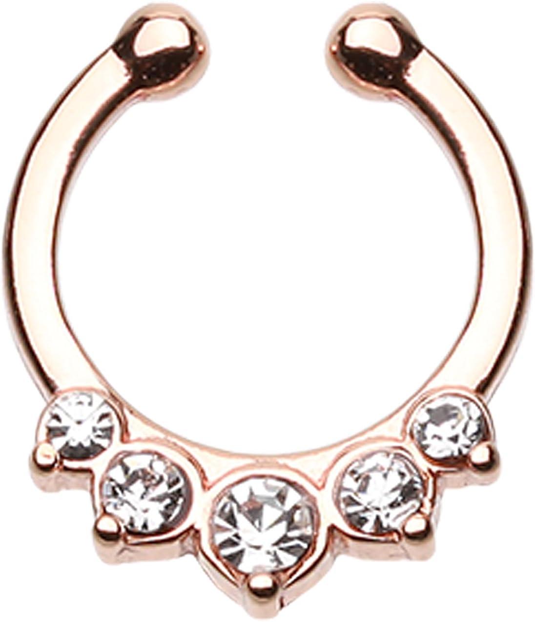 Rose Gold cheap Colored Overseas parallel import regular item Multi-Glass Gem Fake Septum Precia Ring