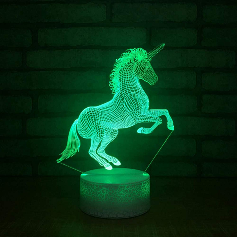 Zonxn Bedroom Bedside Creative USB 3D Led Unicorn Shape Table Lamp Home Decoration Atmosphere Night Light Vision Lightings Kids Gifts