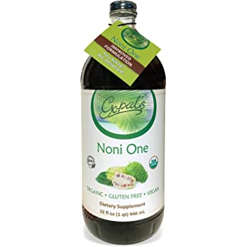 Noni One   100% Pure Organic Noni Juice - 32oz Glass Bottle (1 qt)   Gluten-Free and Vegan Superfruit Supplement, 30,000mg of Noni Juice Per Serving, Vitamin and Antioxidant Rich   Gopal's Healthfoods