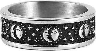 خاتم بتصميم قمر ونجوم وشمس 8 ملم بتصميم بوهيمي دائري من الستانلس ستيل للنساء الرجال من اتش زد مان