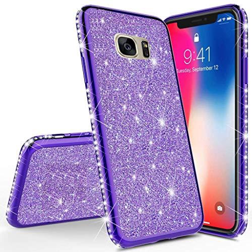 Homikon Silikon Hülle Kompatibel mit Samsung Galaxy S8 Plus Überzug TPU Bling Glitzer Strass Diamant Schutzhülle Ultra Dünn Kratzfest Soft Flex Durchsichtig Silikon Handyhülle Tasche Case - Lila