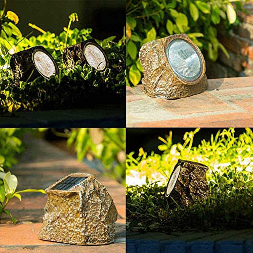 YJFWAL Bethlehem Lighting 2020 Upgraded Version 2 Pack 10 LED Solar Rock Lights, Stone Lights Outdoor Waterproof Light for Patio, Garden, Backyard Pathway Driveway Landscape Rock