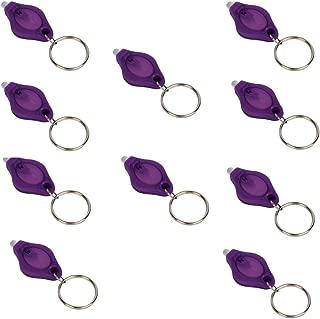 LUMAND 10 Pack Uv Mini LED Flashlight Keychain Torch Light Lamp Id Currency Passports Detector (10Pcs, Purple)