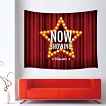 JAWO Red Star Tapestry, Cinema Movie Theater Star on Red Curtain Tapestry Wall Hanging Wall Dorm Room Home Decor Wall Decor Living Room Bedroom 71x60inches
