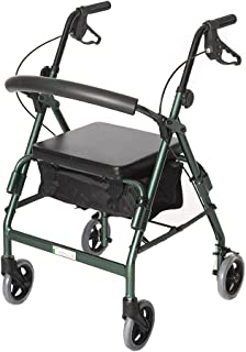 Essential Medical Supply Featherlight 4 Wheel Walker/Rollator with Loop Hand Brakes, Forrest Green