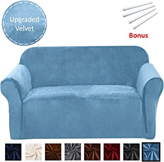 Argstar Velvet Stretch Couch Slipcovers, Washable Strapless Sofa Protector and Elastic Couch Covers for Furniture, Maya Blue