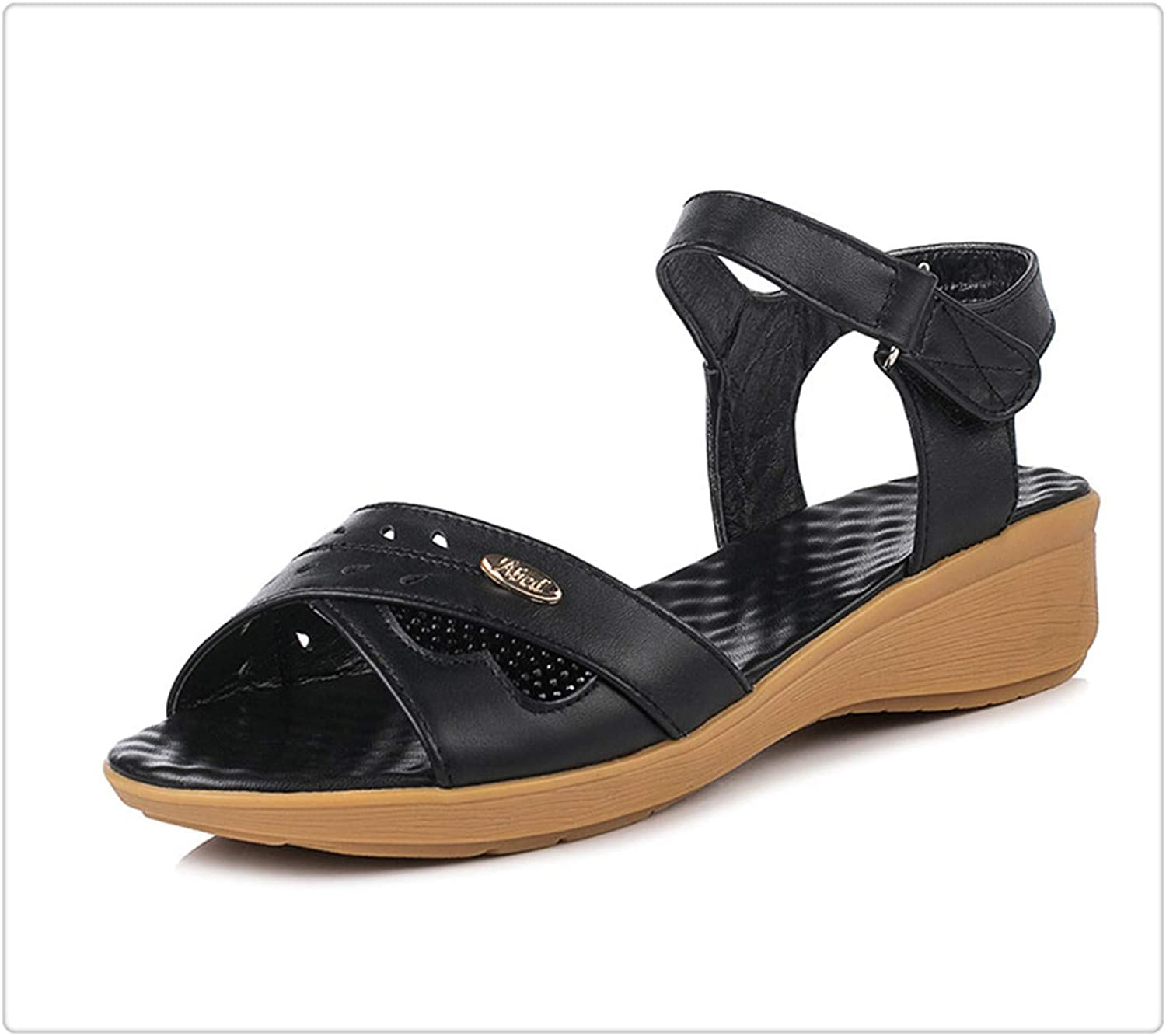 HAHUTG& Genuine Leather Summer Sandals Woman Wedge Flat Casual peep Toe Large Size