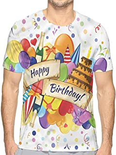 bybyhome Mens t Shirt Birthday,Cupcakes Letter Candles HD Print t Shirt
