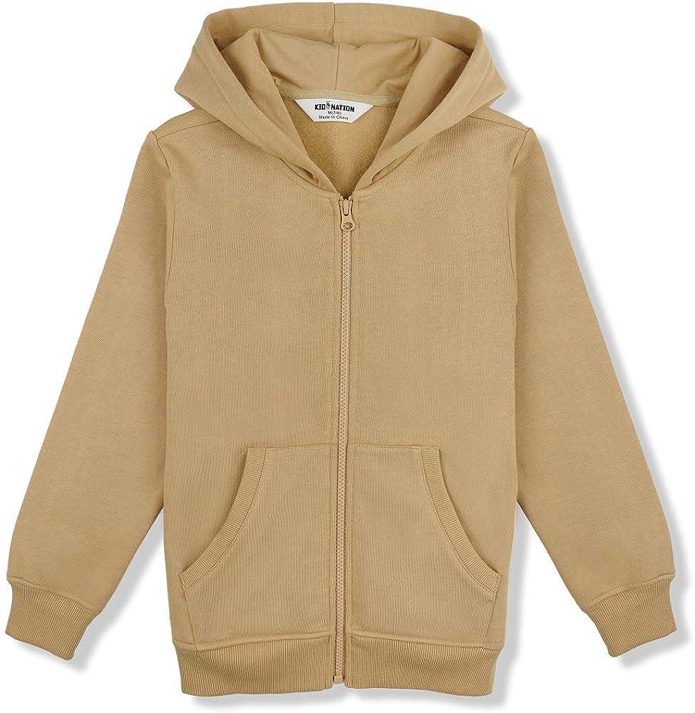 Kid Nation Kids Soft Brushed Fleece Zip-Up Hooded Sweatshirt Hoodie for Boys or Girls 4-12 Years