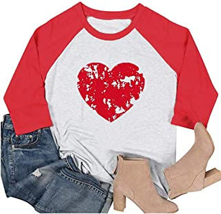 HRIUYI Womens Valentine's Day Raglan T-Shirts Funny 3/4 Sleeve Love Heart Graphic Tees Tops