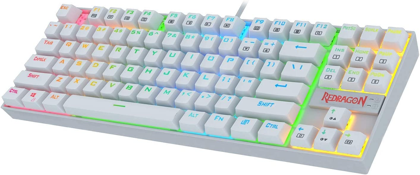 Redragon K552 Mechanical Gaming Keyboard 60% Compact 87 Key Kumara Wired Cherry MX Blue Switches Equivalent for Windows PC Gamers (RGB Backlit White)