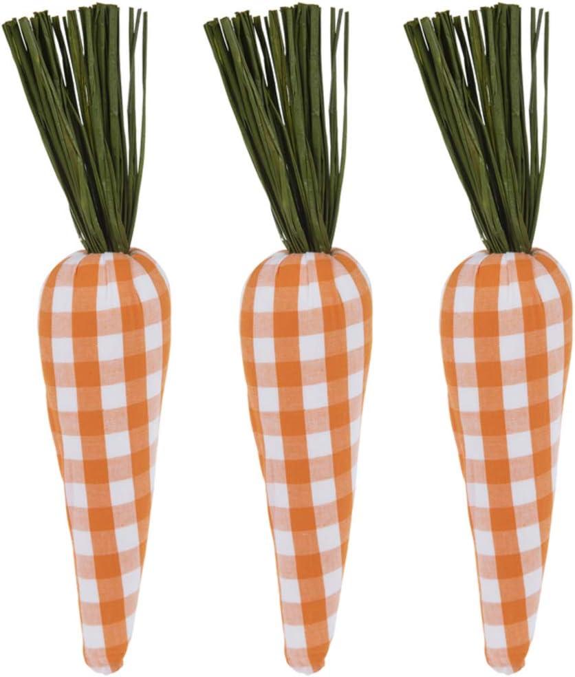 Amazon Com 9 Orange Buffalo Check Plaid Carrots For Easter Spring Garden Decor Primitive Farmhouse Decorations Set Of 3 Home Kitchen