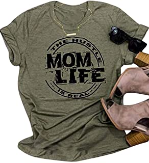 Womens Mom Life T Shirts O Neck Short Sleeve Graphic Tees The Hustle is Real Mama Shirts Casual Tops