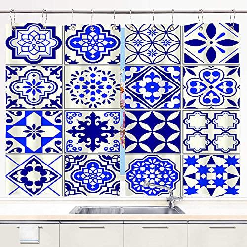 MIFSOIAVV Cortinas para Cocina Azulejos sin Costura Diseño de Mosaico Floral mediterráneo Cortinas de Ventana Ganchos de Metal Juego de 2 Paneles para decoración de café de casa 140x100CM