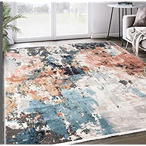 Grey & Copper Abstract Area Rug, Azure Collection – Contemporary Accent Rug, Abani Rugs 7'9'x10'2′