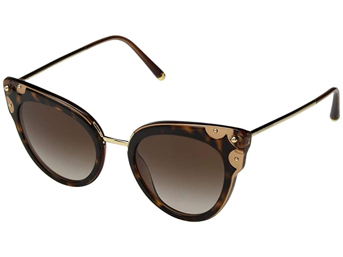 Dolce & Gabbana DG4340 (Top Havana/Transparent Brown/Brown Gradient) Fashion Sunglasses