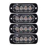 4X AMBER Ultra Thin 4-LED Warning Emergency Flashing Strobe Light Bars Surface Mount For Car Van Truck Jeep 4x4 SUV ATV UTV