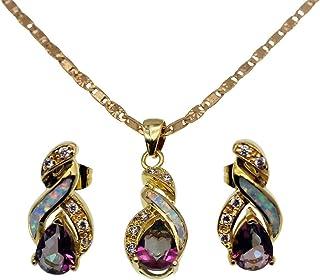 Sponsored Ad - Vanessa Australian Blue White Fire Opal Jewelry Sets for Women, Pendant Necklace Stud Earrings Birthstone J...
