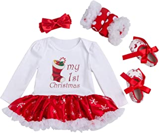 Newborn Baby Girls Christmas Outfit Infant Romper Tutu Dress 4Pcs Set