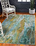 Unique Loom 3128089 Vibrant Abstract Area Rug, 3 Feet 3 Inch x 5 Feet 3 Inch, Turquoise/Gray
