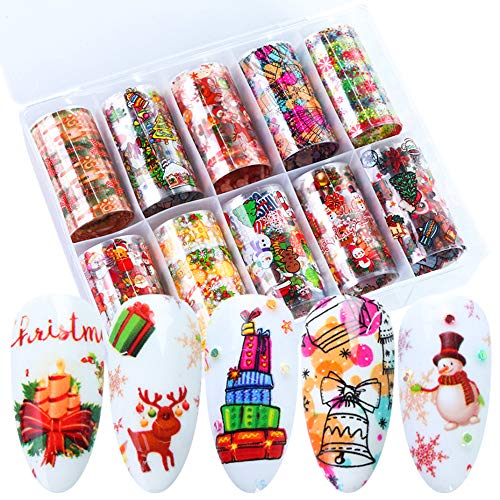 Christmas Nail Foil Transfer Stickers 10 Rolls Snowman Santa Tree Gift Decals Winter Xmas Decorations Sliders Manicure Tips Accessories Colorful Starry Sky Nail Foils for Women DIY Nail Art Designs
