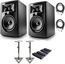 "JBL 305P MkII 5"" Studio Monitoring Speakers (Pair) Recording Package w/AxcessAbles Studio Monitor Stands, Isolation Pads and Studio Cables"