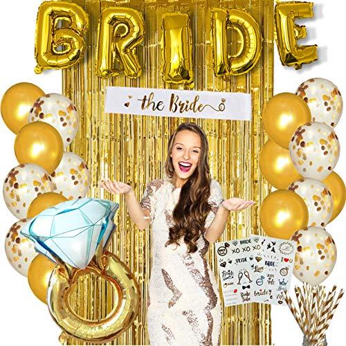 PARTY2YOU - Juego completo de decoración para despedida de soltera y ducha de novia, globos de novia, fondo de fotos, fajas, tatuajes, pajitas de papel, anillos y globos de látex