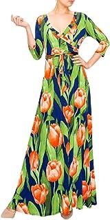Sponsored Ad - Bon Rosy Women's #MadeInUSA 3/4 Sleeve V-Neck Printed Maxi Faux Wrap Floral Dress