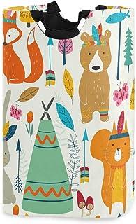 QMIN Panier à linge pliable avec poignée, motif animal indien, renard, lapin, ours