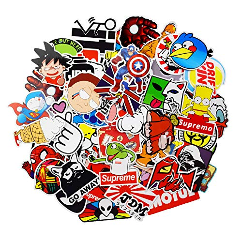 Sticker Pack 100-Pcs Adesivi Stickers Vinili per computer portatile,bambini,automobili,motociclette,skateboard,autoadesivi paraurti Hippie Decals bomba impermeabile