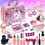 Senrokes Washable Makeup Girls Toy - Kids Makeup Kit for Girls, Non Toxic Make Up Set, Little Girls Makeup Kit for Toddler Children Princess, Christmas Birthday Gifts 4 5 6 7 8 9 10 Year Old Girl