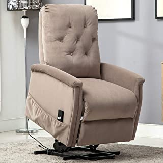 Bonzy Home Power Lift Recliner Chair for Elderly, Overstuffed Cozy Single Sofa for Living Room - Thick and Firm Padded Reclining Chair (Light Coffee)