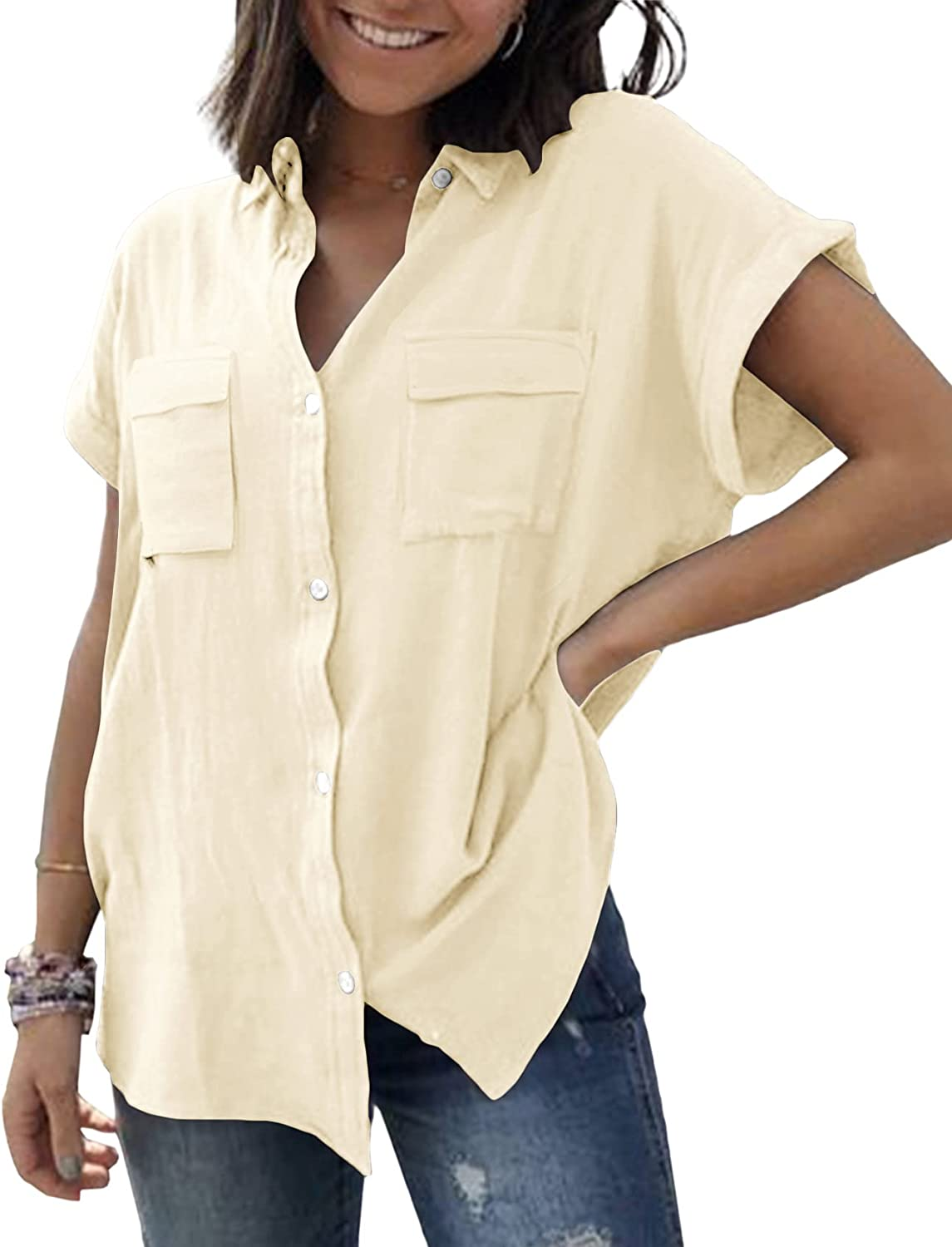 Womens V Neck Button Down Shirt Cuffed Sleeve Summer Beach Casual Tops Loose Fit Blouse with Two Side Pockets