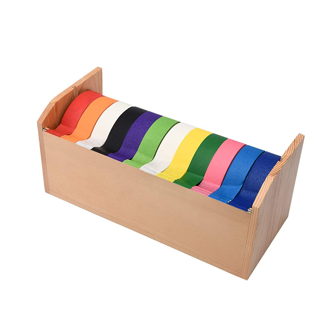 Decorative Children's Craft Tape Wooden Dispenser with 12 Assorted Color 1 inch Tape Rolls