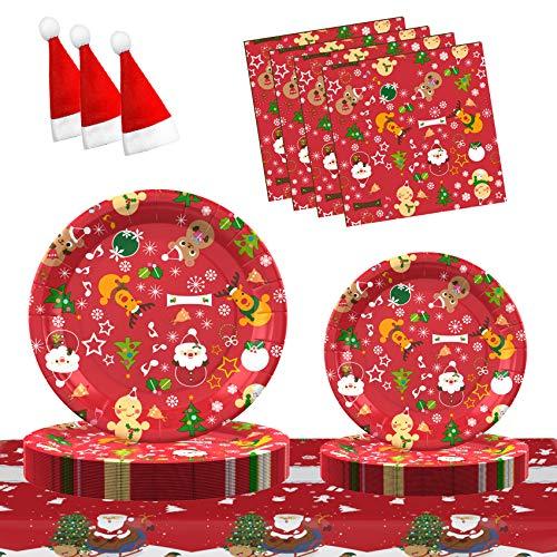 Gimsan Weihnachtsessen Eingestellt Weihnachtsfeierzubehör Weihnachtsfeier Teller Geschirr Set Für 30 Gäste, Weihnachts Pappteller und Servietten 121 PCS