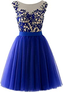 MARSEN Lace Tulle Prom Dresses Short Beaded Appliques A-Line Bridesmaid Gowns for Women