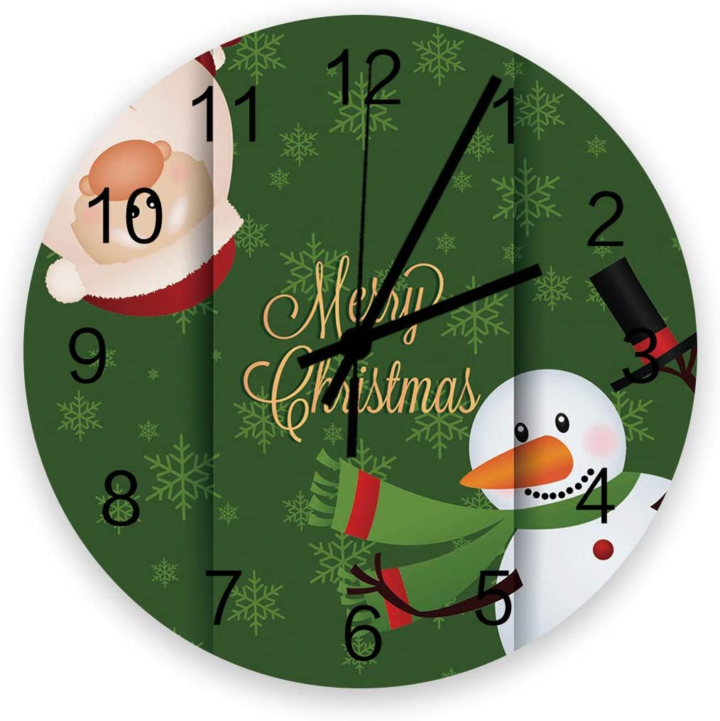 Home Decor 12 Inch Round Wooden Max 51% OFF Merry Santa Christmas Sno Tampa Mall Clock